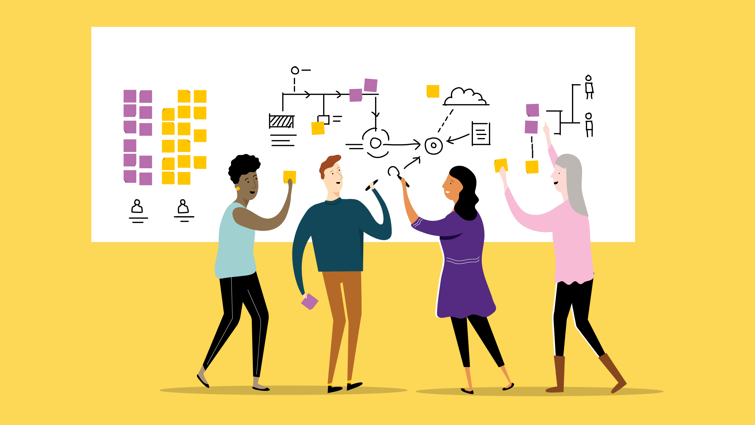 Illustration of four individuals standing in front of a white board using sticky notes and pens to outline their strategy. In front of a light yellow backdrop.