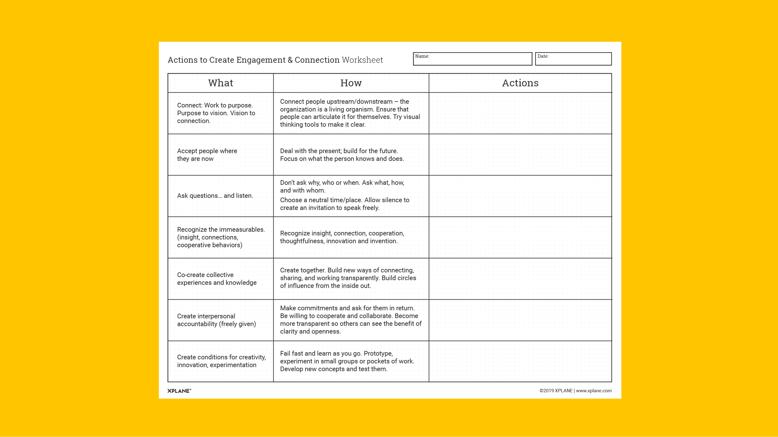 Actions to Create Engagement and Connection Worksheet