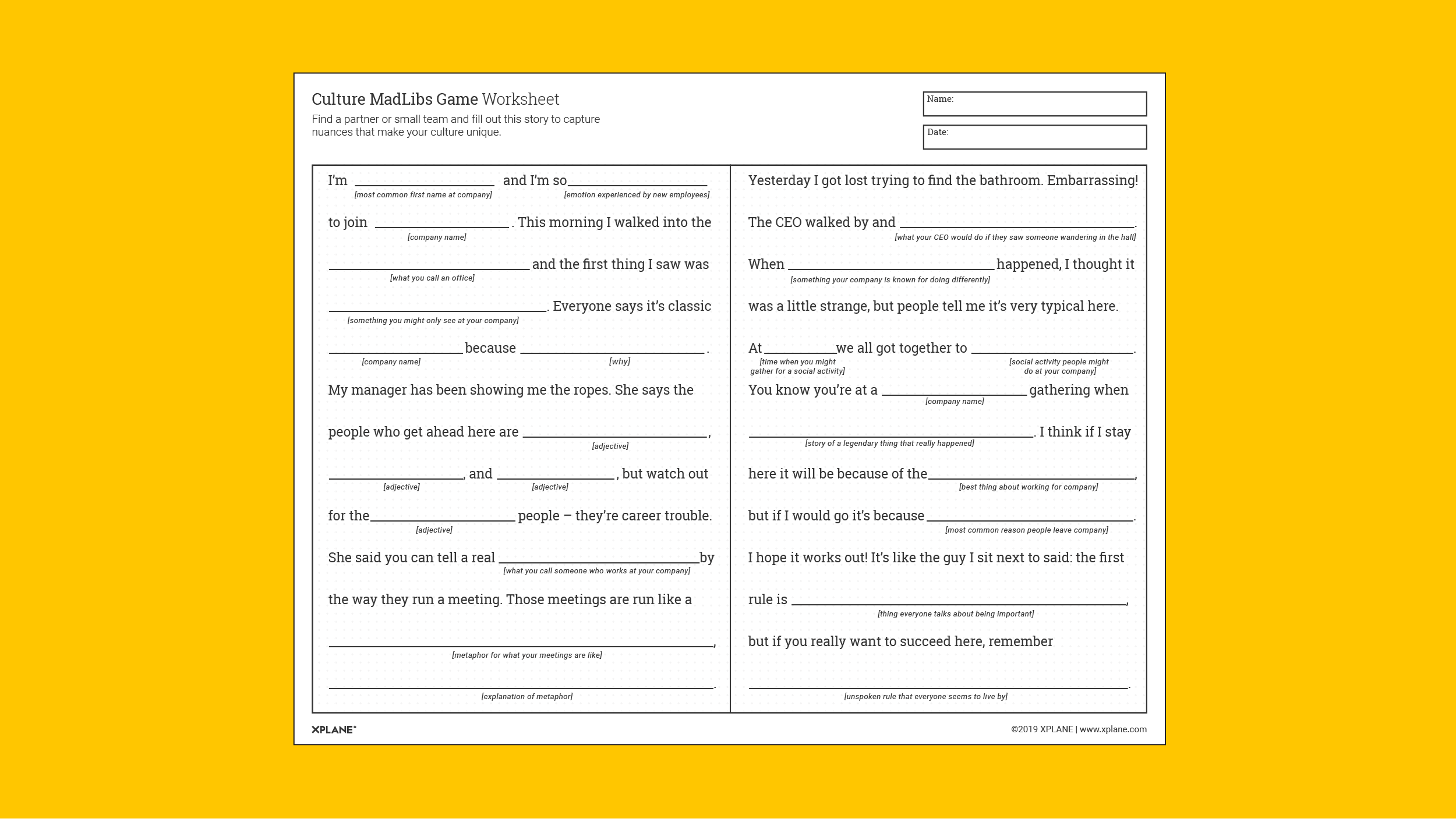 Culture MadLibs Worksheet