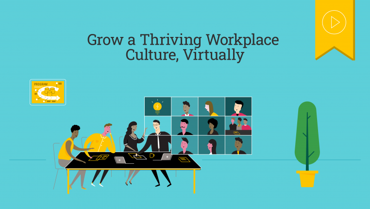 Header image of several figures sitting around a conference table, and some in a Zoom call to show hybrid workplaces post-COVID