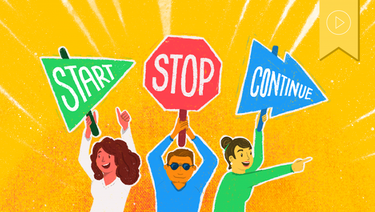Header image of three figures holding signs that say start, stop, continue