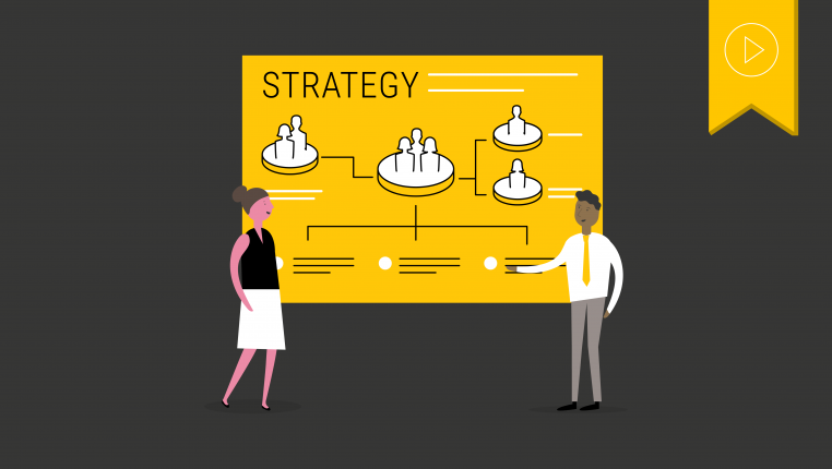 Header image of two figures standing in front of a board that says strategy