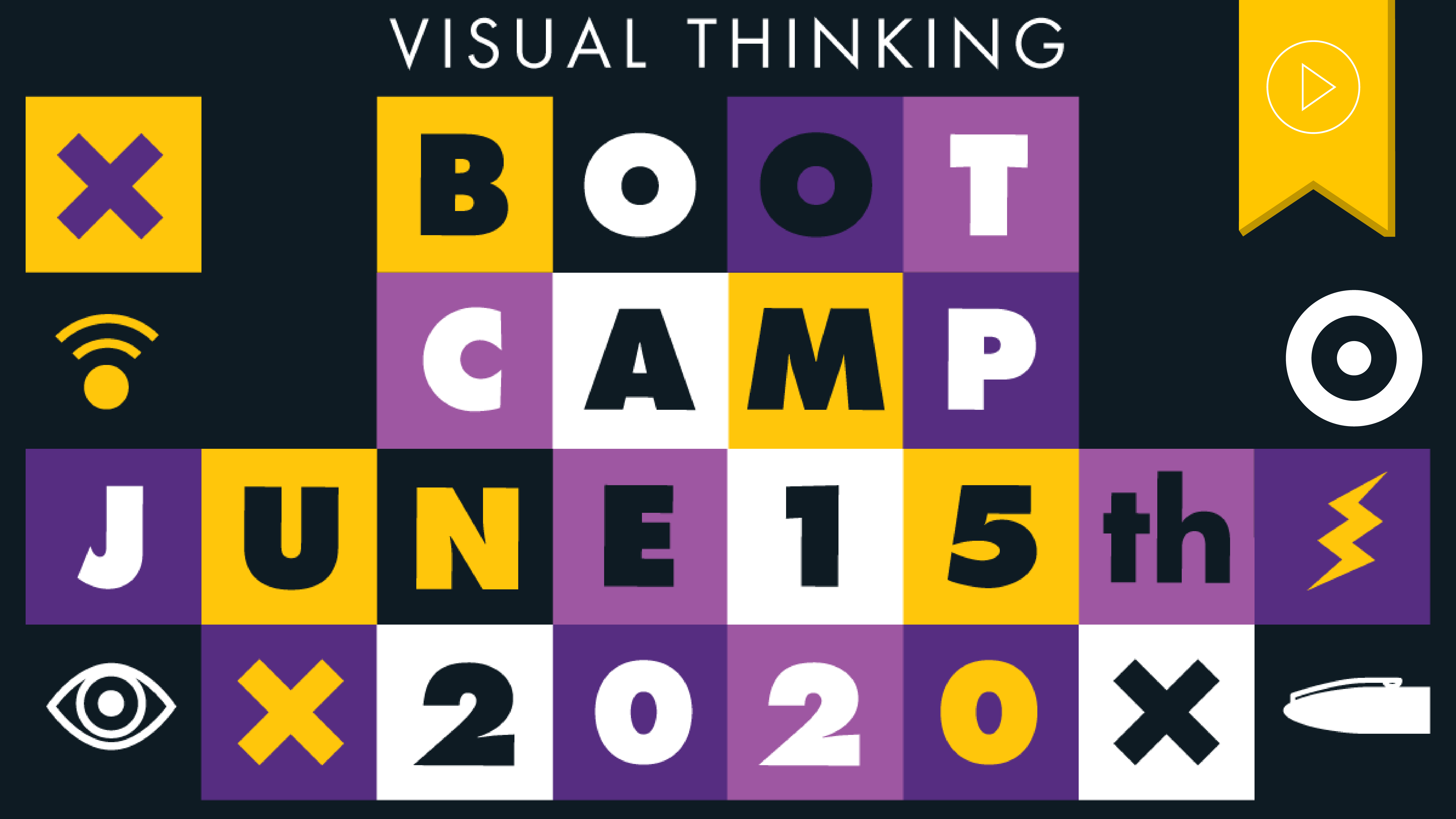 Header image with boxes and other visual thinking elements, text says visual thinking bootcamp june 15th 2020