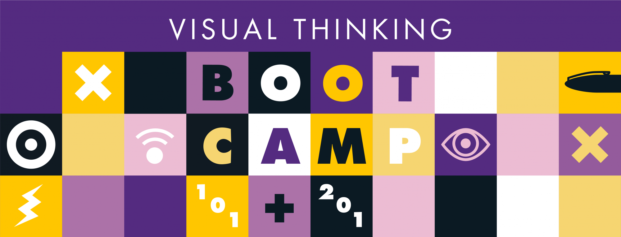 Header image using different coloured boxes with icons. Text says Visual Thinking Bootcamp 101 + 201