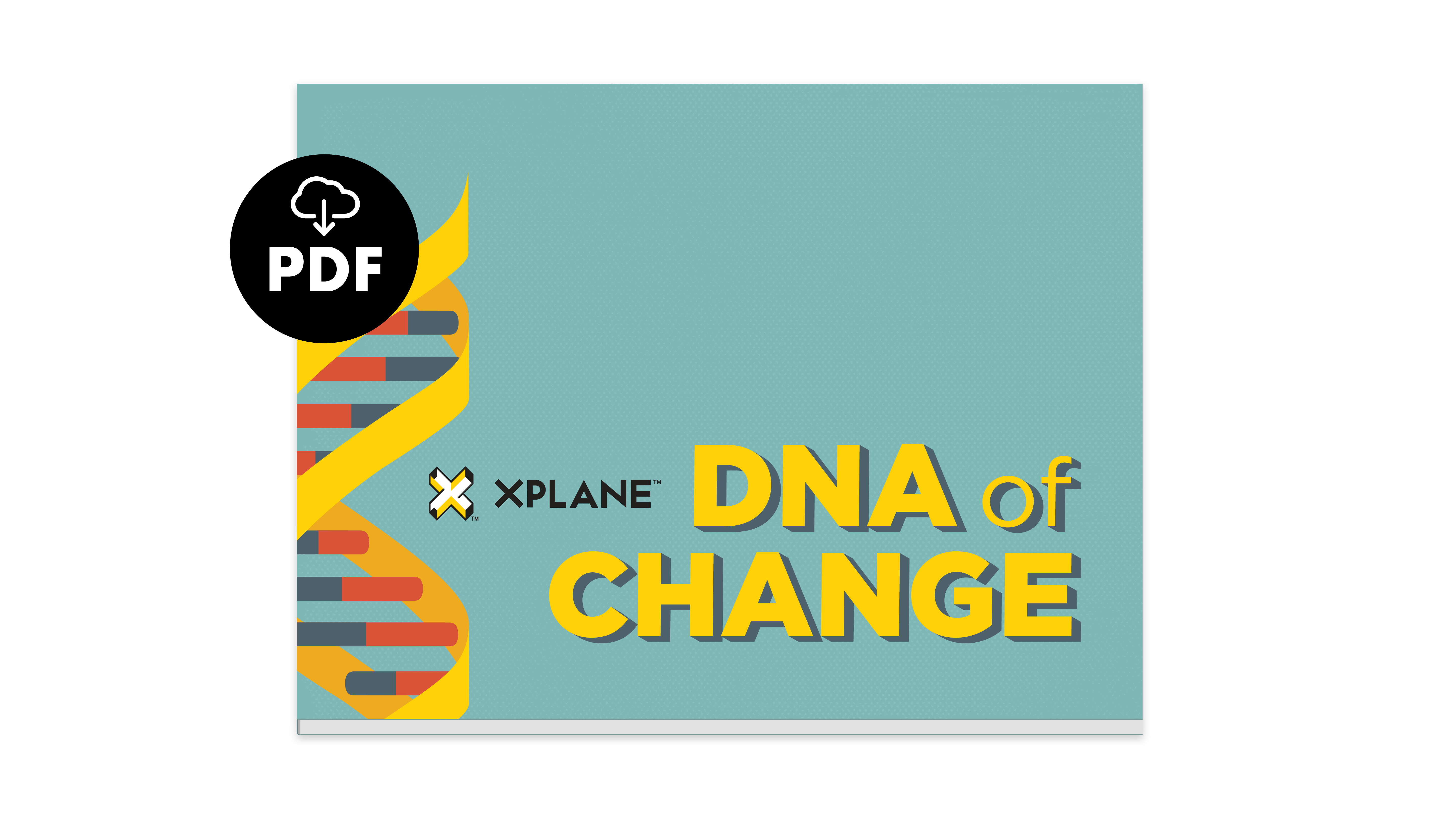 Cover for XPLANE's DNA of Change ebook. There's an icon showing this is a downloadable eBook