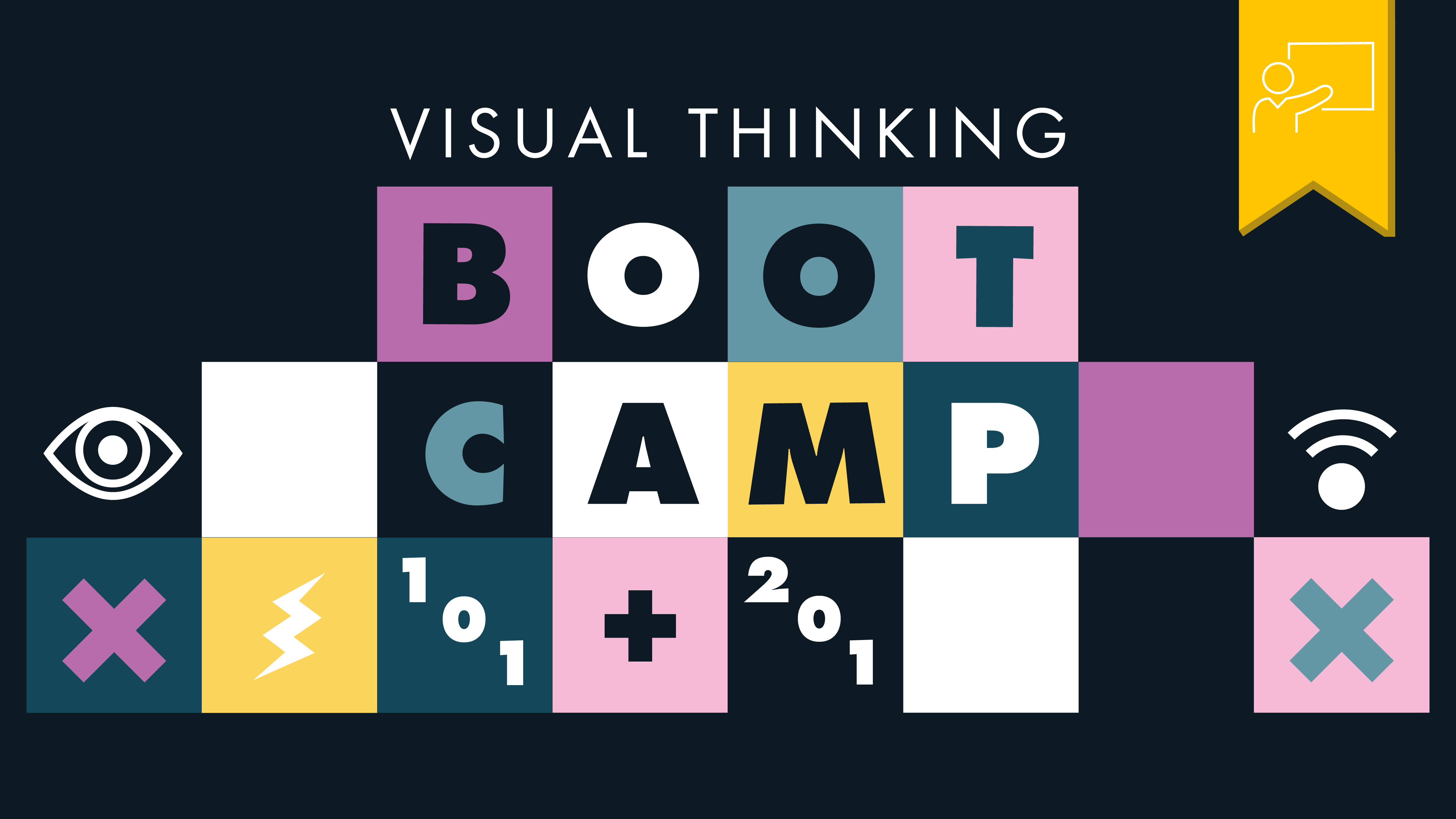 Header image with boxes and other visual thinking elements, text says visual thinking bootcamp 101 + 201. A yellow tag with an icon of a person presenting denotes that this was a workshop.