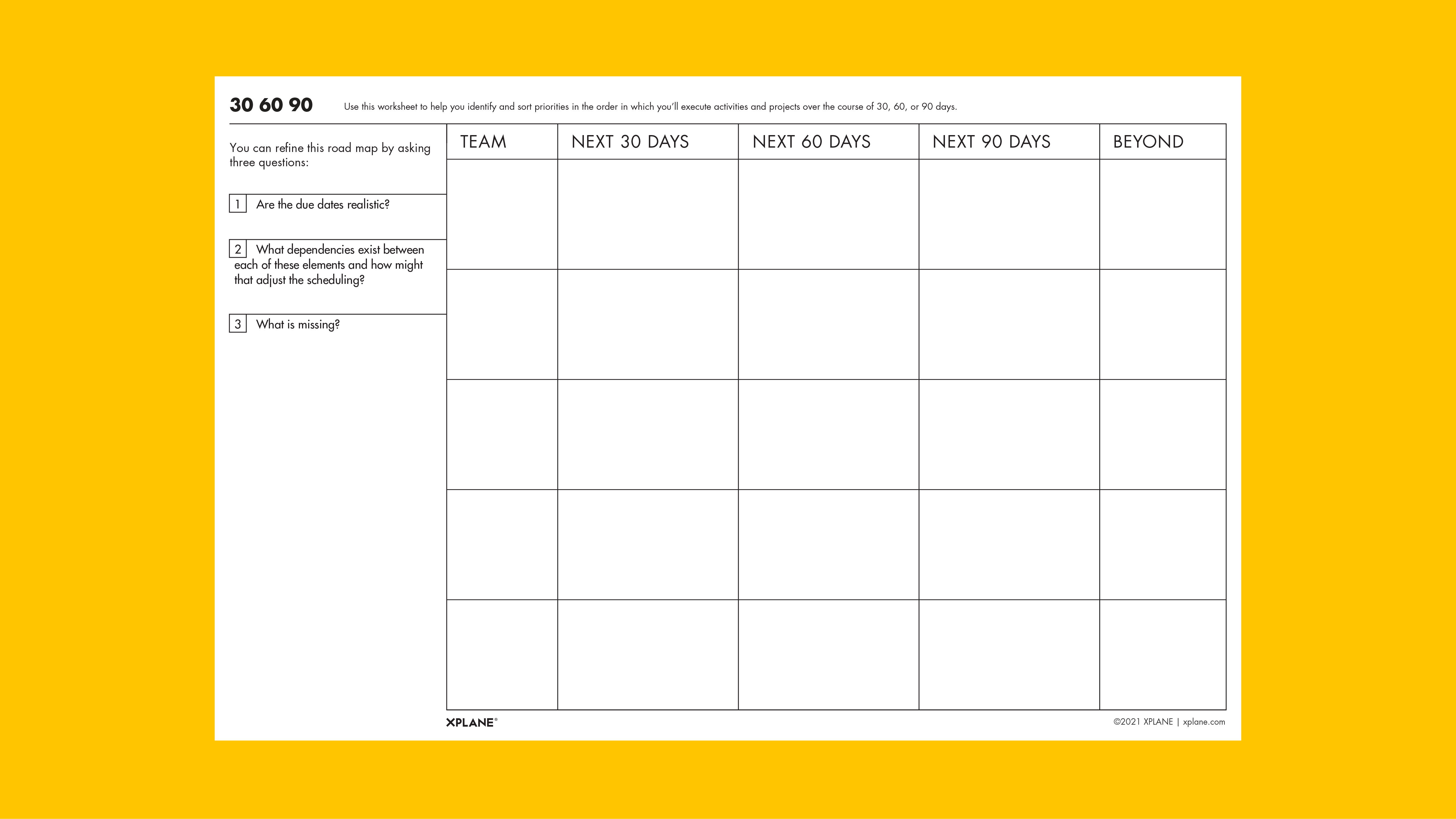 30 60 90 worksheet against yellow background