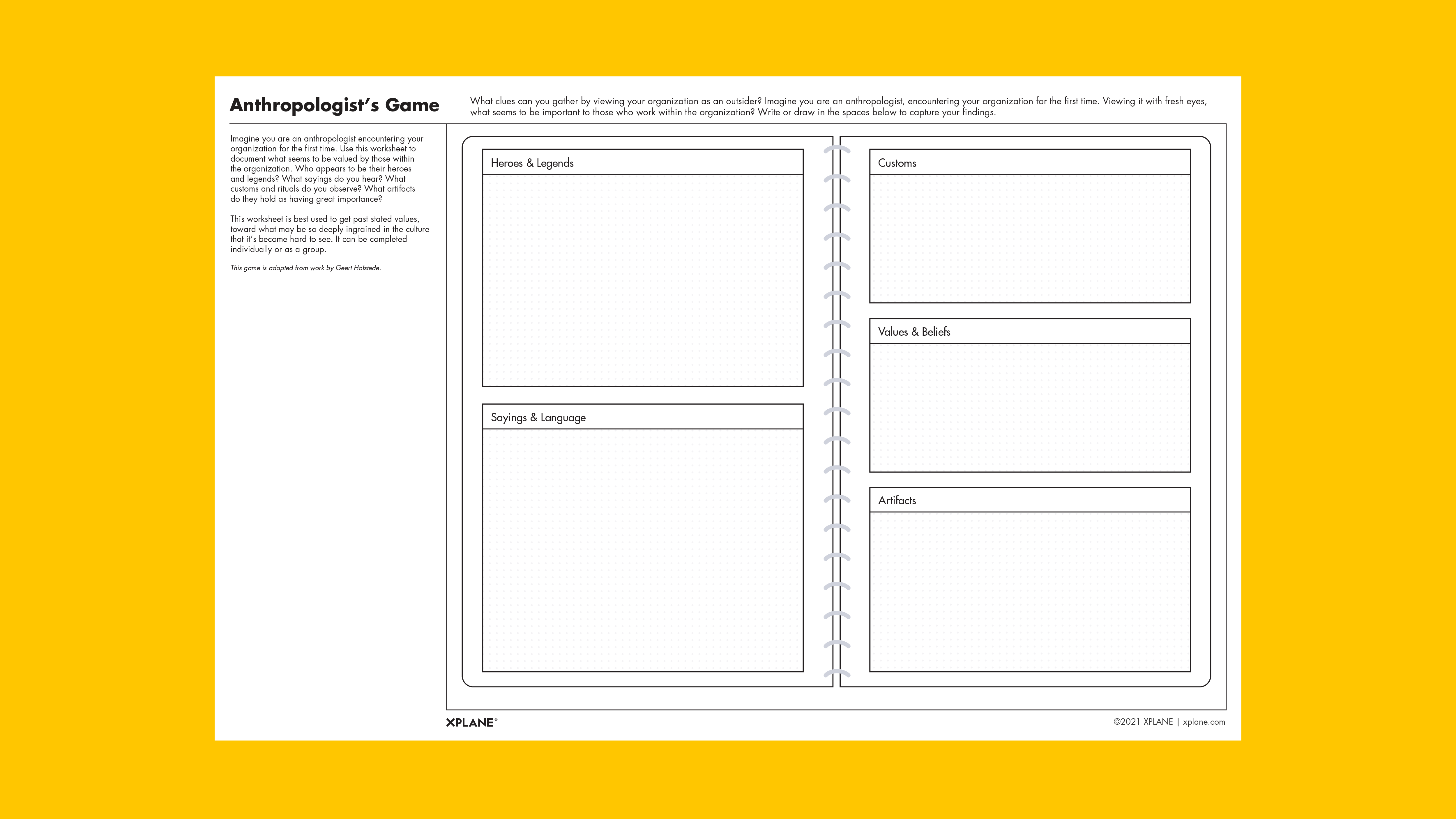 Anthropologist's Game worksheet against yellow background
