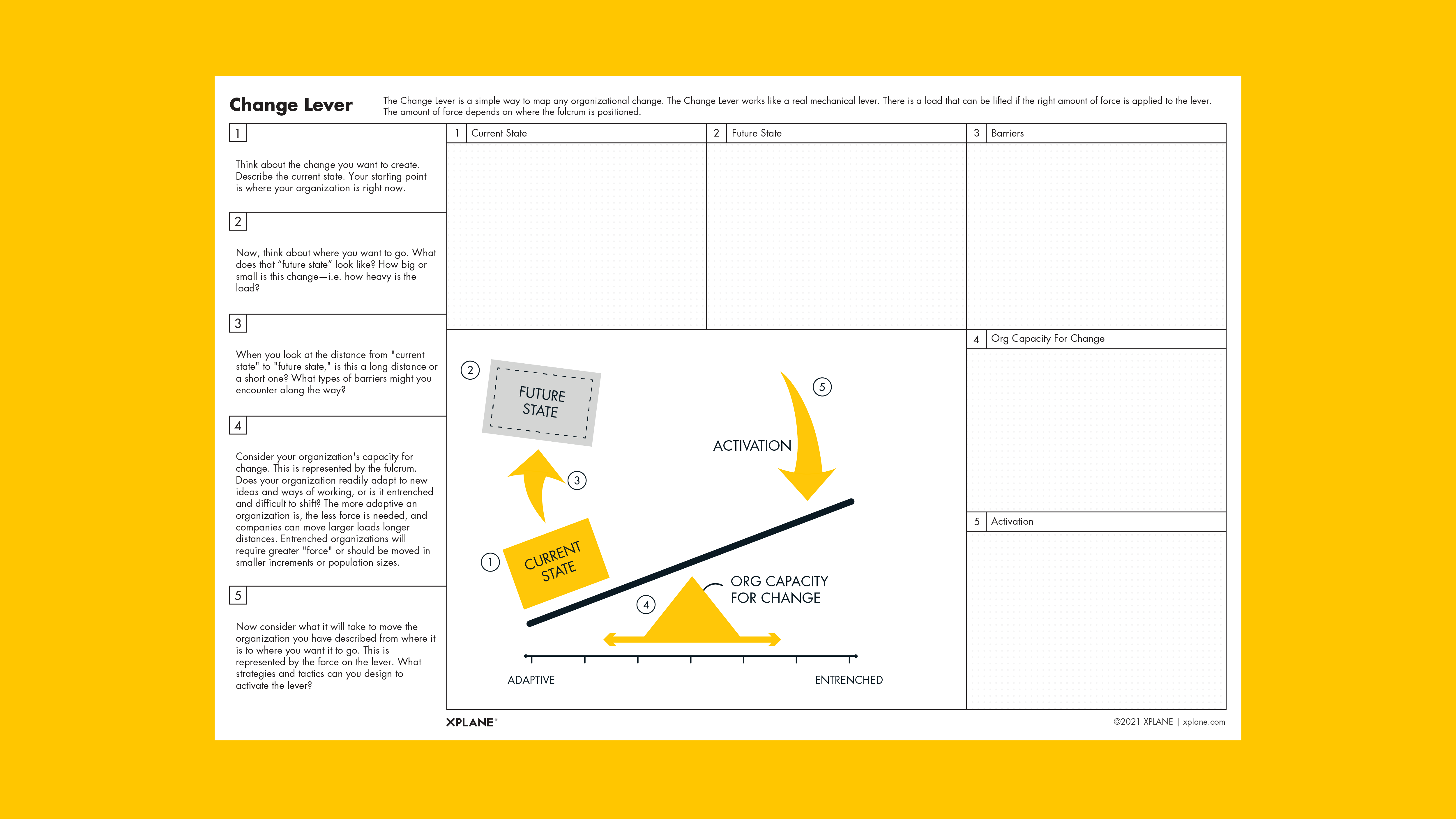 Change Lever worksheet against yellow background