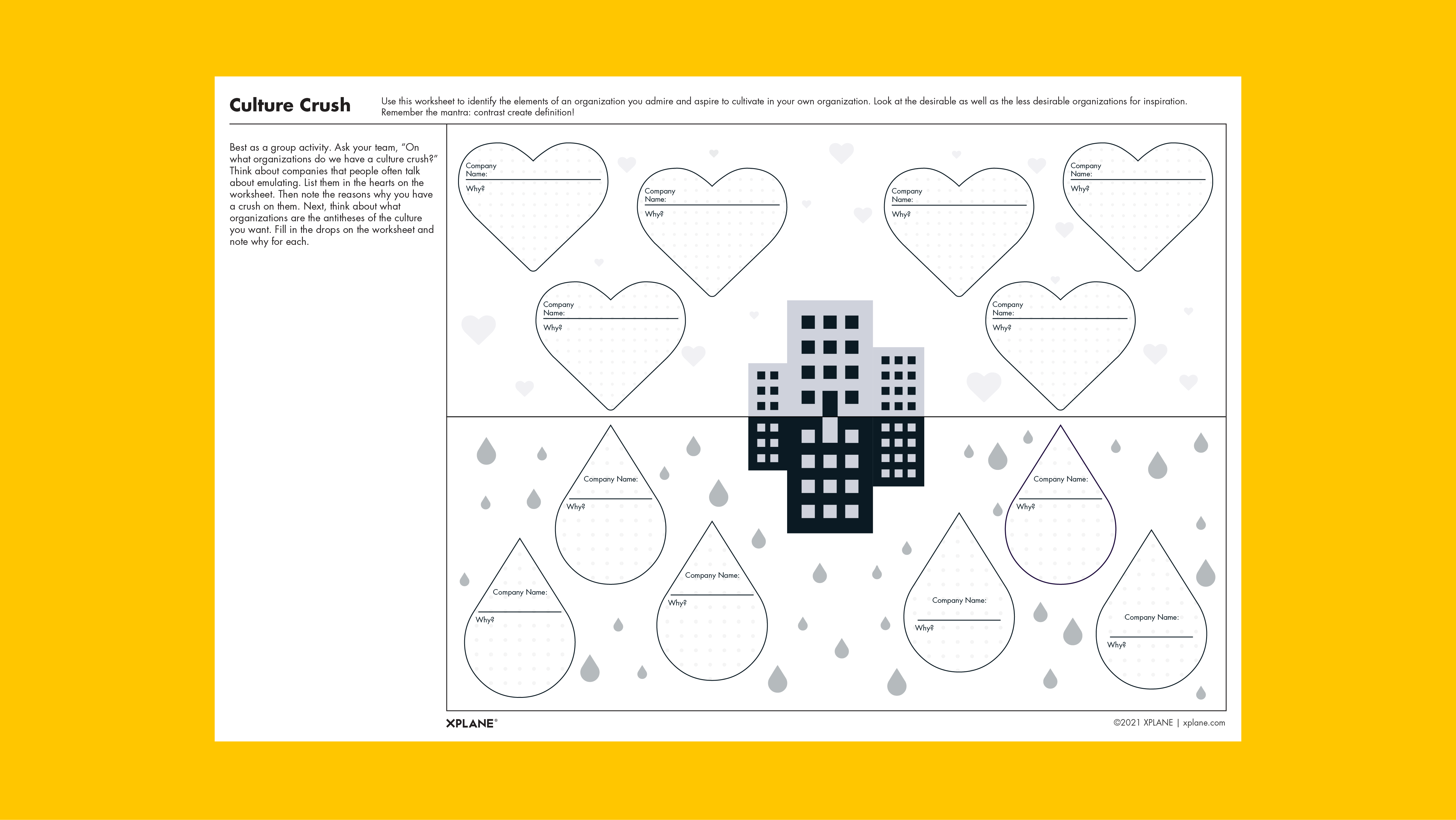 Culture Crush worksheet against yellow background