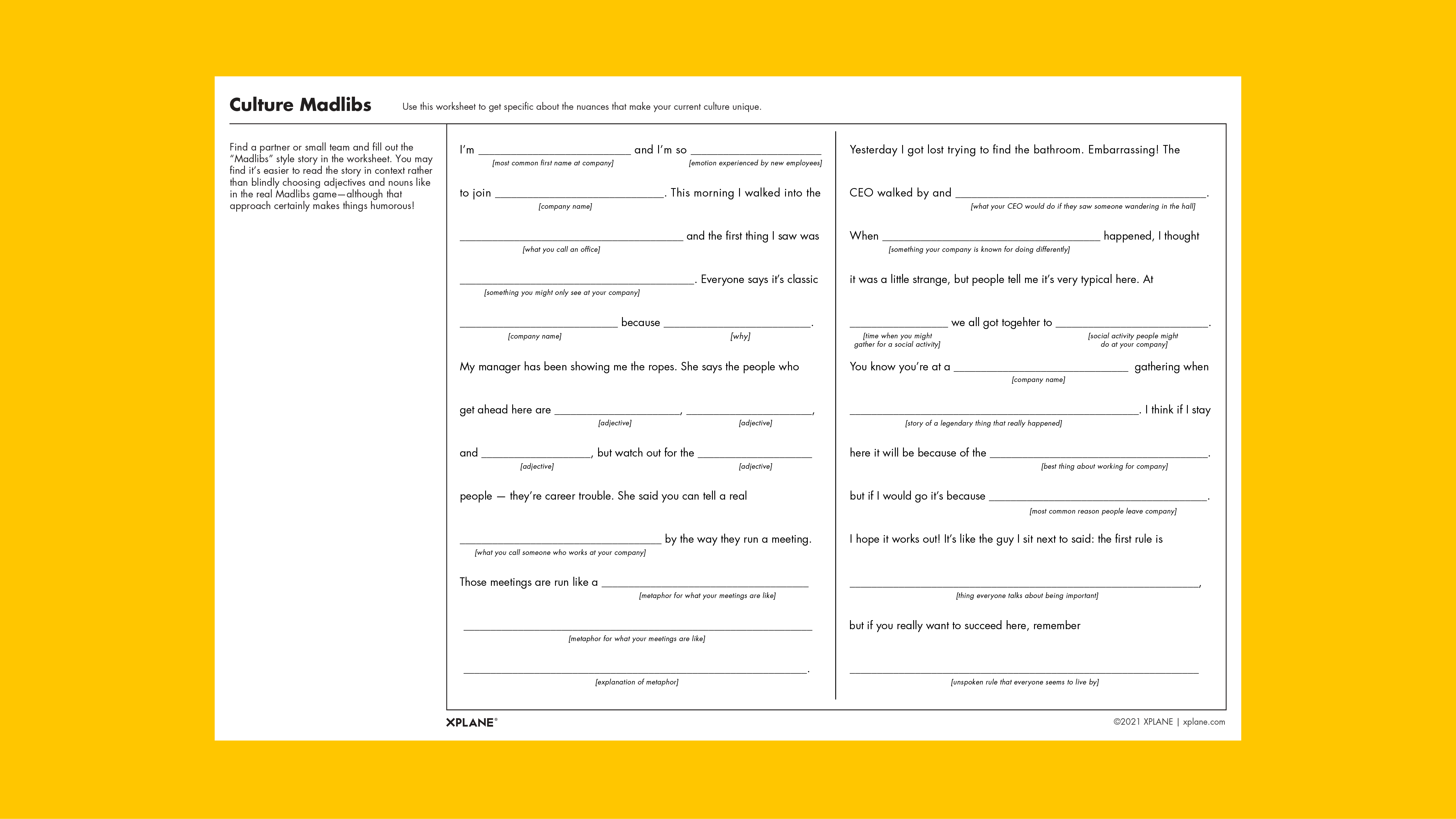 Culture Madlibs worksheet against yellow background
