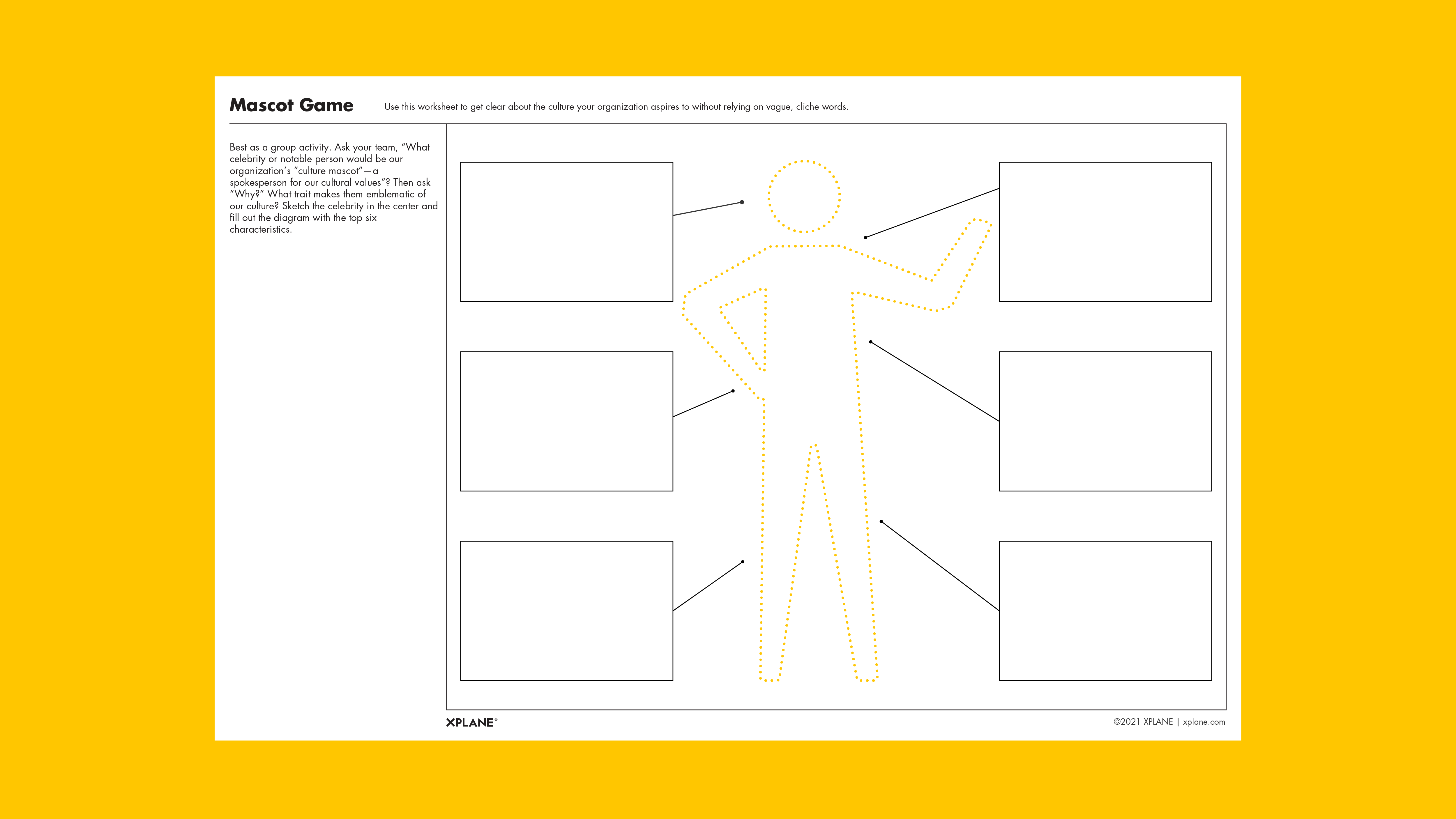Mascot Game worksheet against yellow background