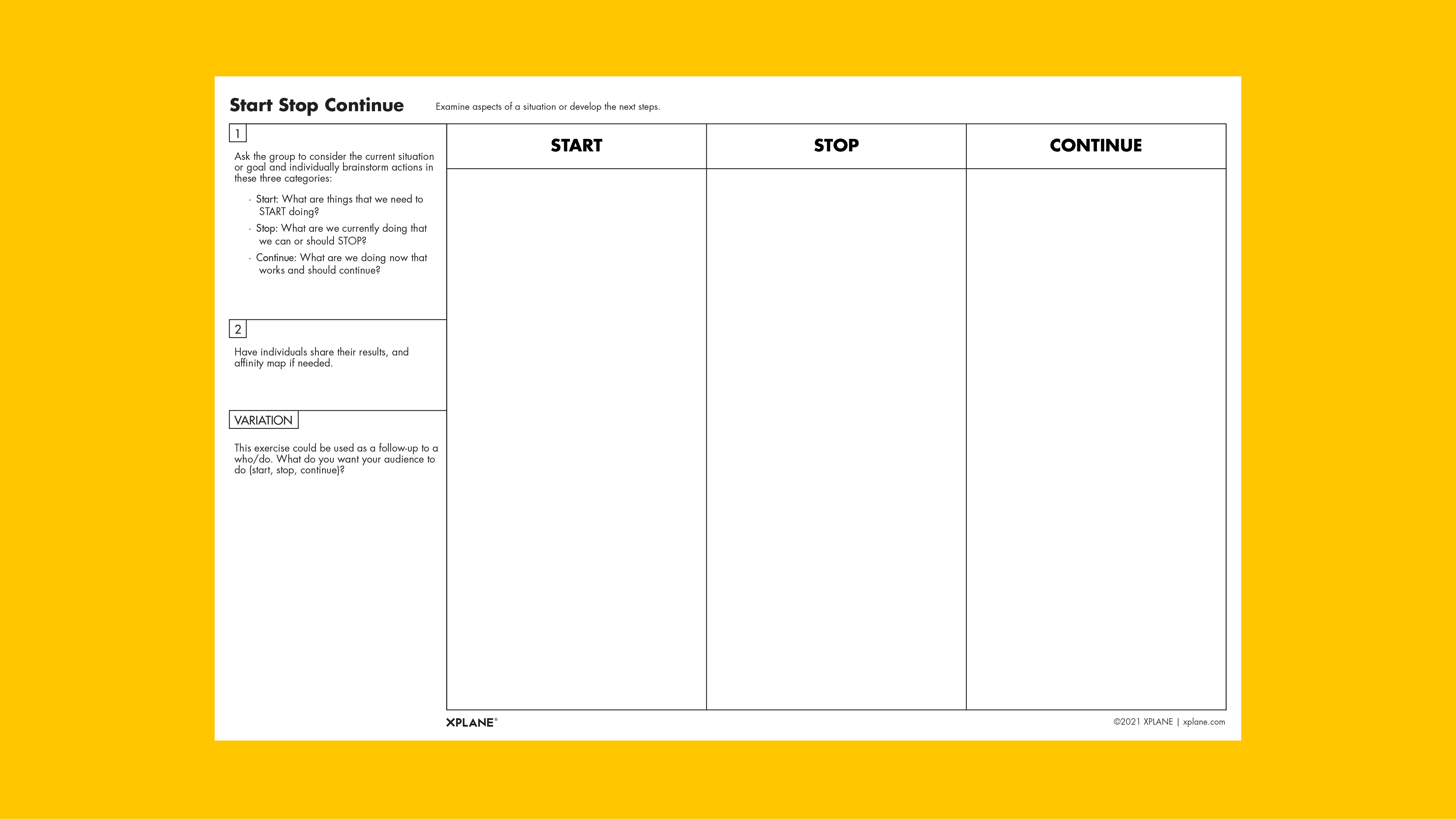 Start Stop Continue worksheet against yellow background