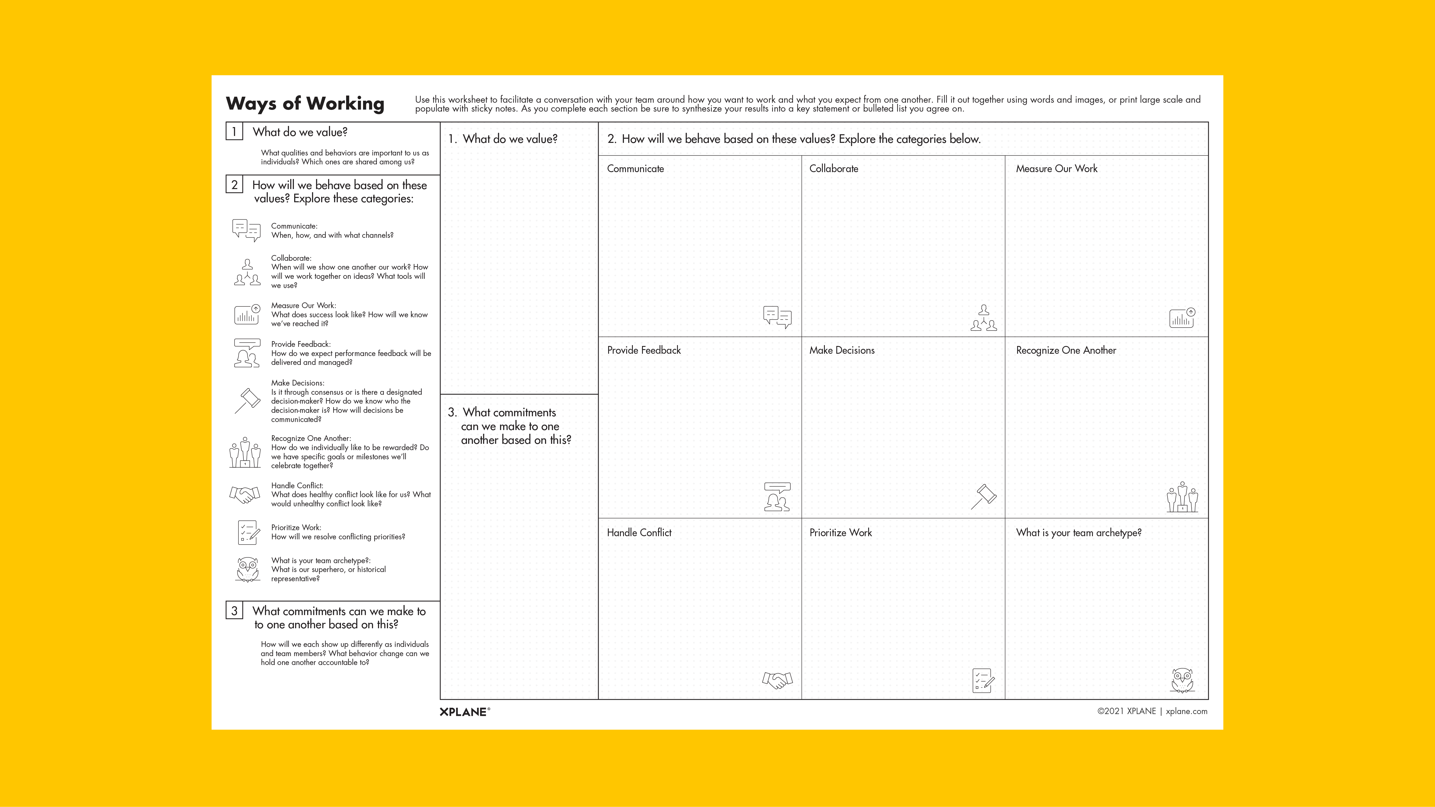 Ways of Working worksheet against yellow background