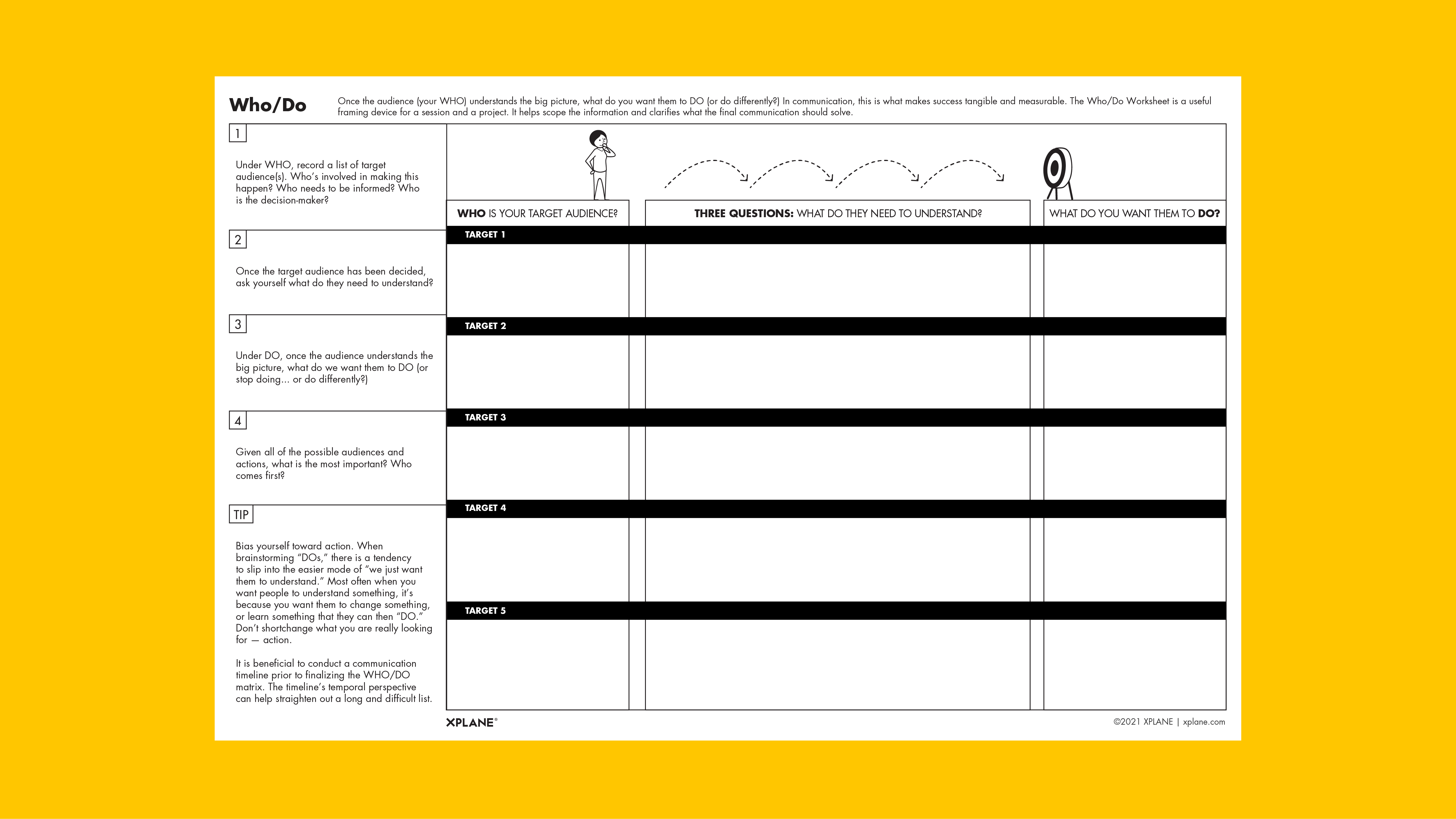 Who/Do worksheet against yellow background