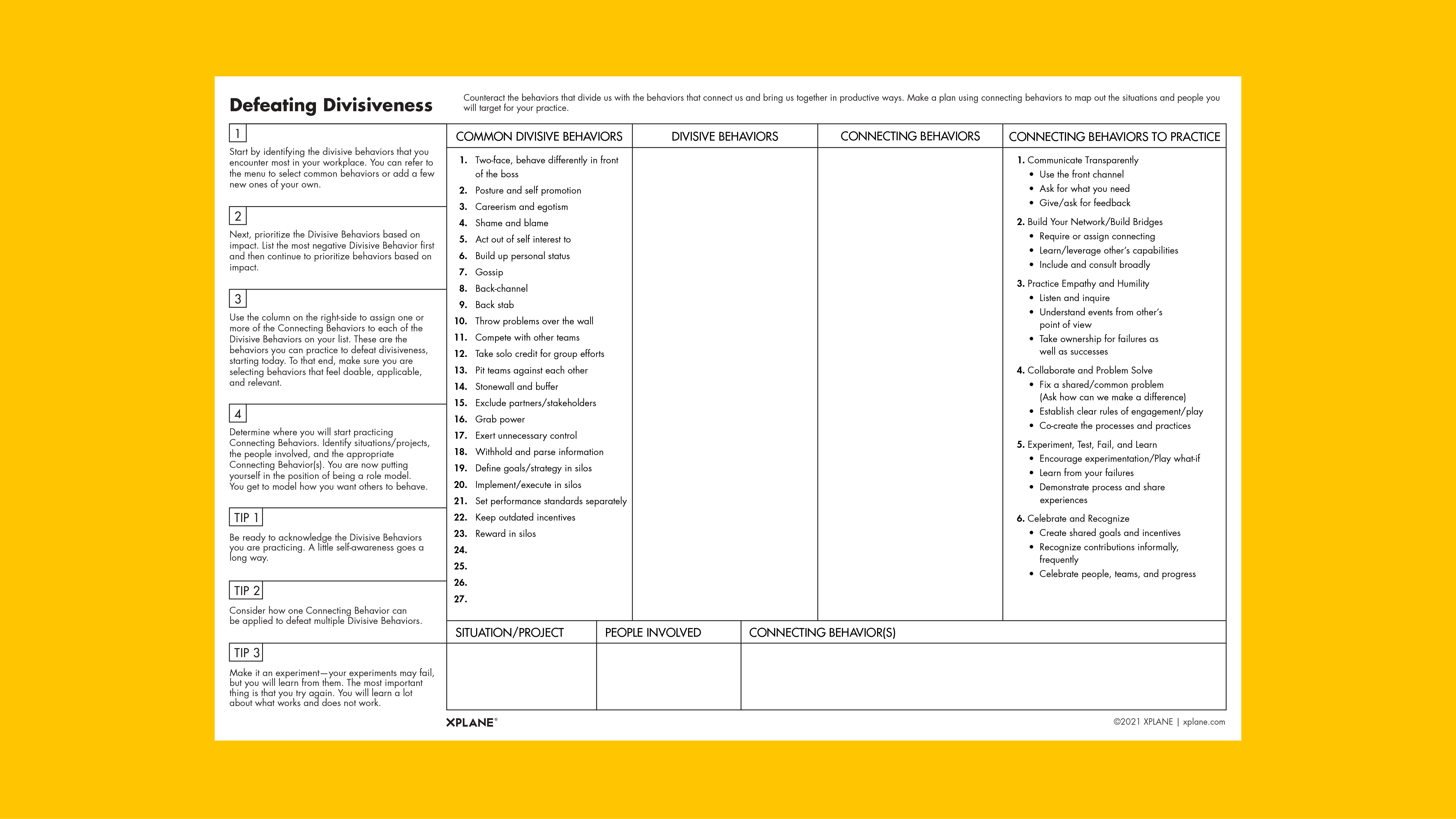 Defeating Divisiveness worksheet against a yellow background
