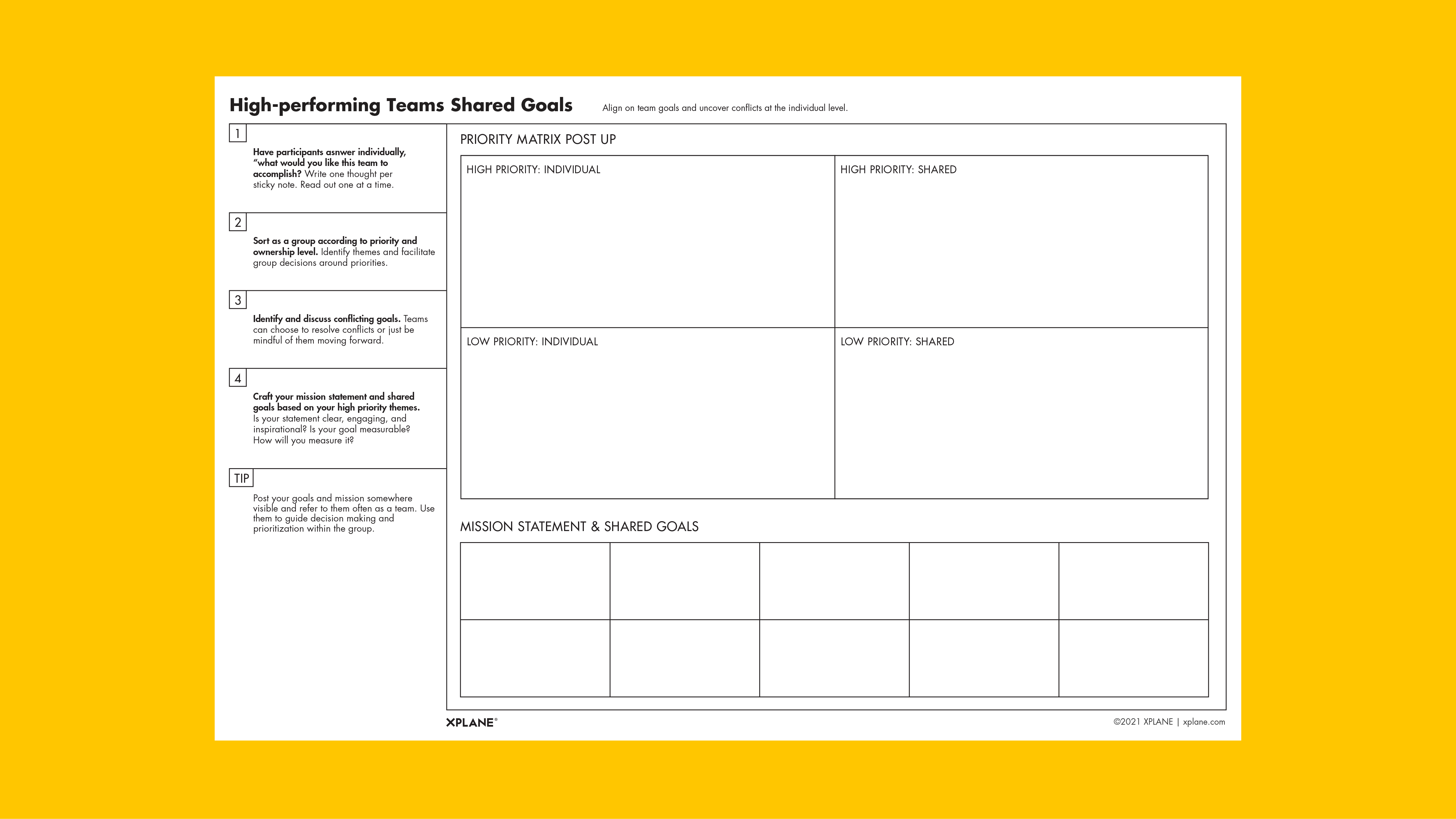 High-performing Teams Shared Goals worksheet against a yellow background