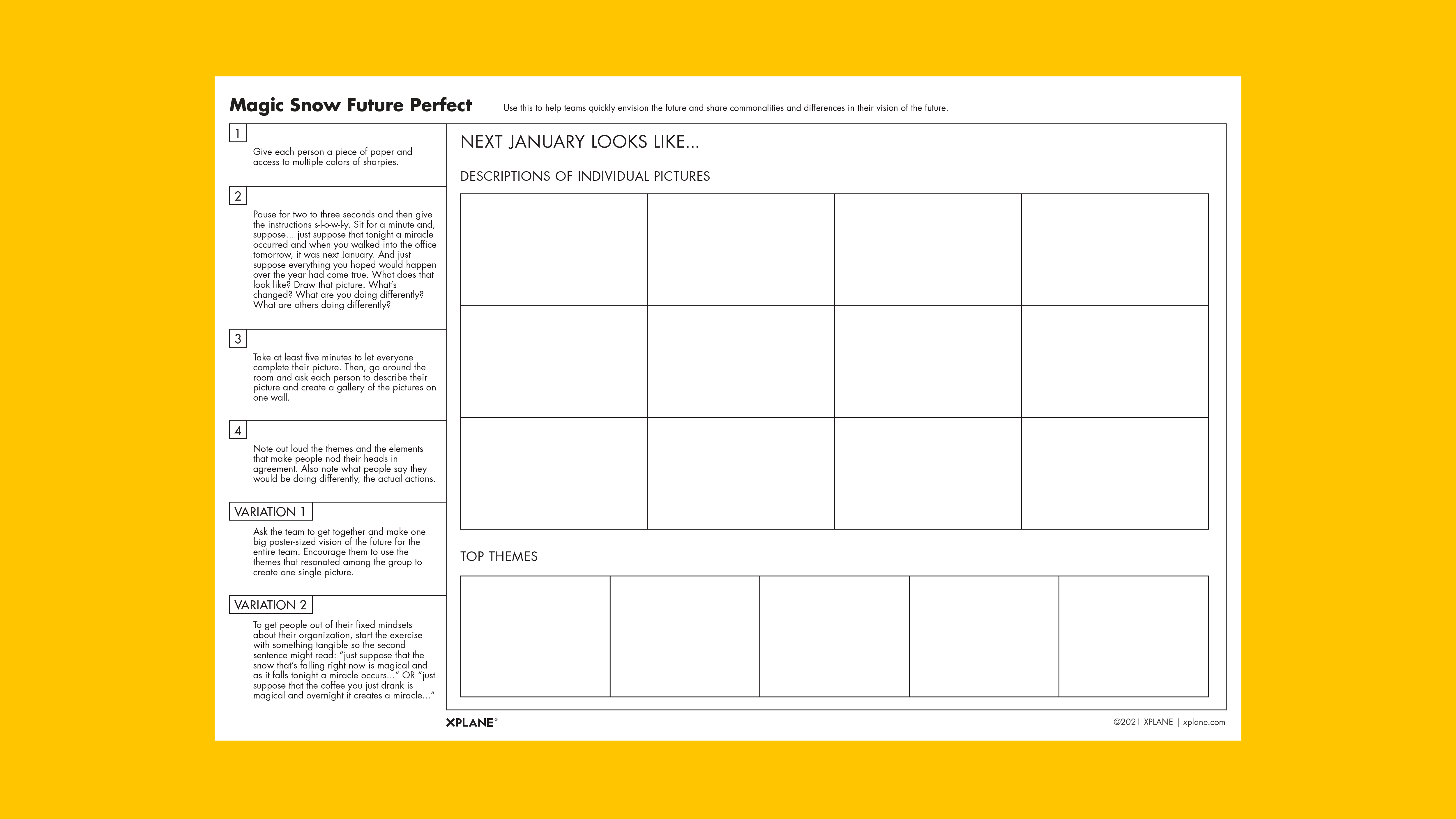 Magic Snow Future Perfect worksheet against a yellow background