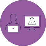 Purple icon with one person sitting at a desk with their laptop next to a person on a computer via video call