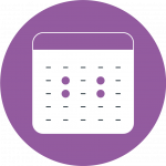 Purple icon showing a calendar with four days highlighted